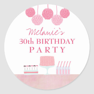 Pink Birthday Party Dessert Table Tag Sticker
