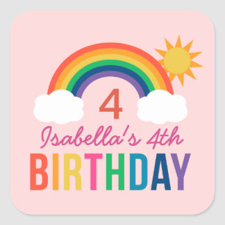 Pink Birthday Party Favor | Rainbow Colors Square Sticker