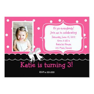 "Pink Birthday Party invitation 5"" X 7"" Invitation Card"