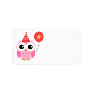 Pink birthday party owl with balloon blank custom address label