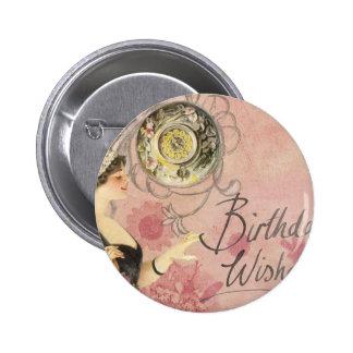 :Pink Birthday Pinback Button