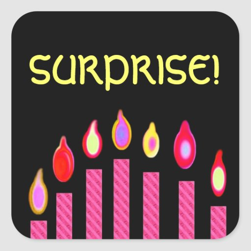 PINK Birthday SURPRISE Candles Square Sticker