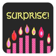 PINK Birthday SURPRISE Candles sticker