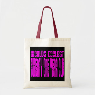 Pink Birthday Worlds Coolest Twenty One Year Old Canvas Bags