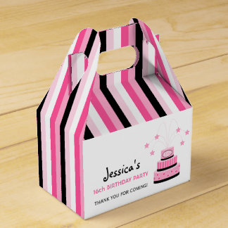 Pink & Black 16th Birthday Cake Party Favor Box