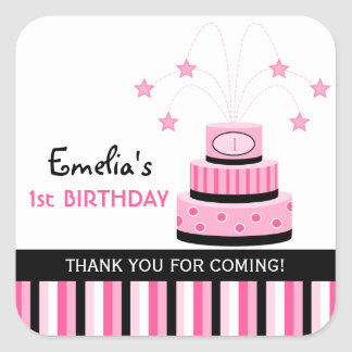 Pink Black 1st Birthday Cake Party Favor Stickers
