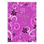Pink Black 21st Birthday Party Invitation Card