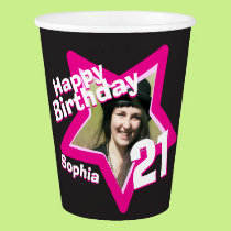 Pink black 21st birthday photo personalized cups