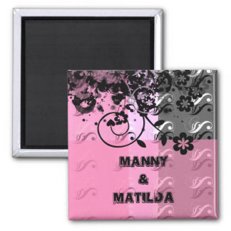 Pink & Black 2 Inch Square Magnet