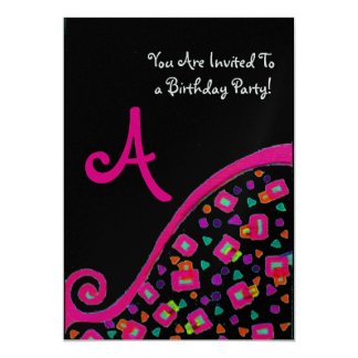 PINK BLACK ABSTRACT DECO BIRTHDAY PARTY MONOGRAM CARD