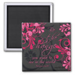 Pink Black Abstract Floral Inspirational Magnet