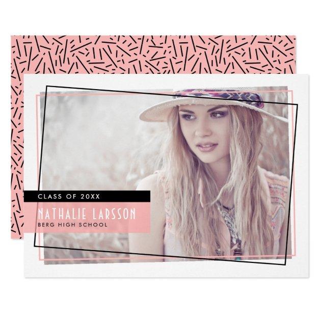 Pink & Black Abstract Frame Photo Graduation Card