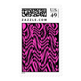 Pink Black abstract Op Art Postage