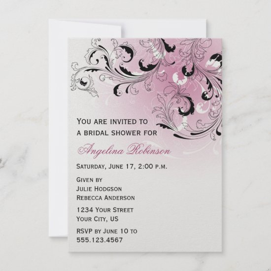 Pink Black Abstract Swirls Bridal Shower Invitatio Invitation