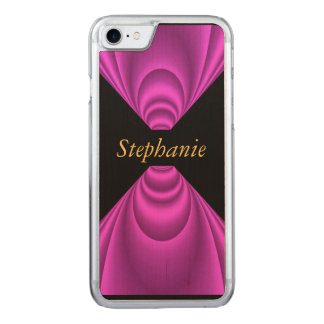 Pink Black Add your Name Wood Carved iPhone 7 Case