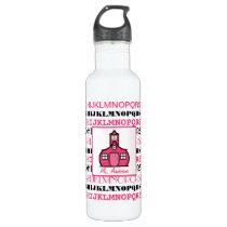 Pink & Black Alphabet Schoolhouse Water Bottle