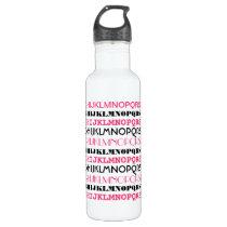 Pink & Black Alphabet Stainless Steel Water Bottle