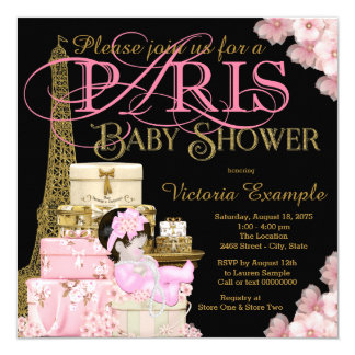 Pink Black And Gold Paris Baby Shower Card