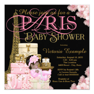 Pink Black And Gold Paris Ethnic Baby Shower Invitation