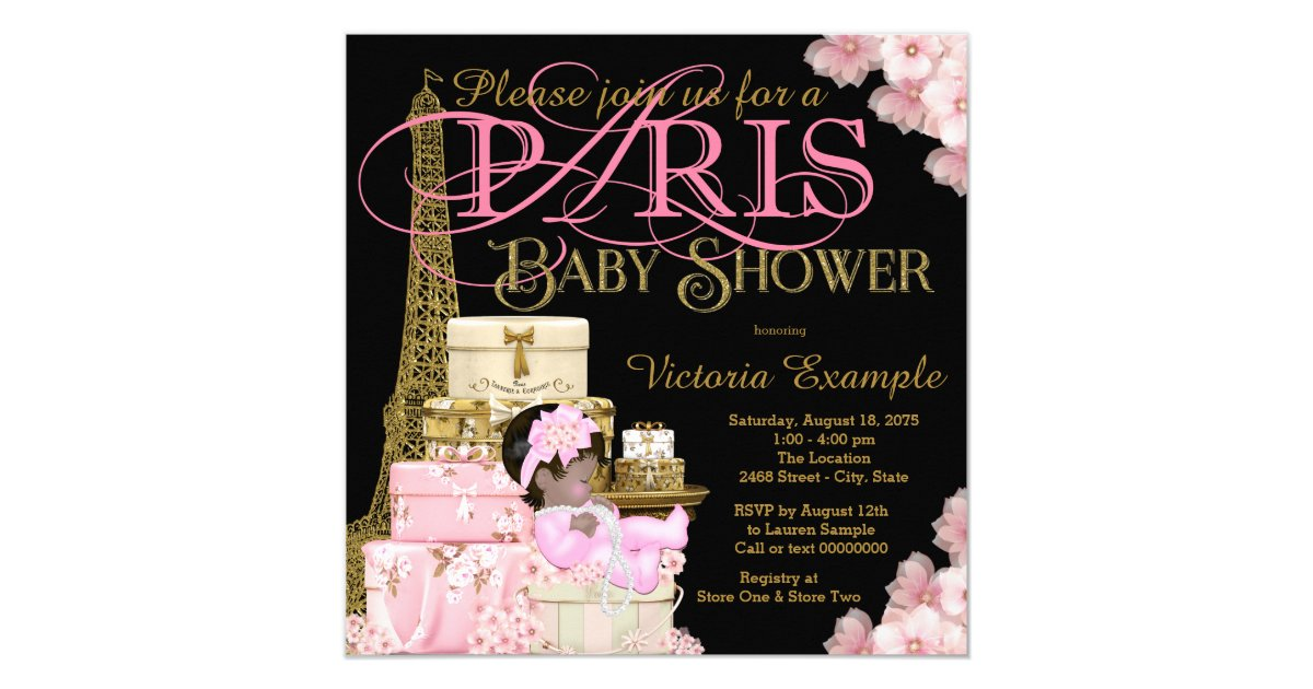 Pink Black and Gold Paris Ethnic Girl Baby Shower Invitation ...