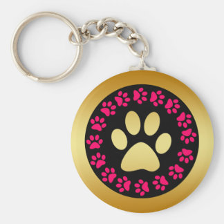 Pink Black and Gold Paw Prints Key Chains