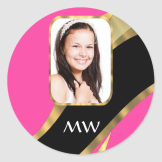 Pink black and gold photo template classic round sticker