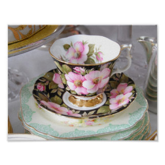 Pink, Black and Gold Vintage Floral Cup and Saucer Poster