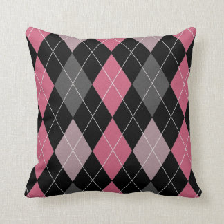 Pink, Black and Gray Argyle Pattern Pillow