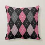 Pink, Black and Gray Argyle Pattern Throw Pillow