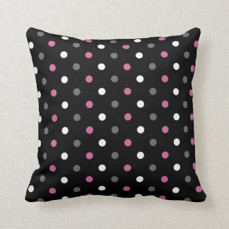 Pink, Black and Grey Polka Dot Throw Pillow