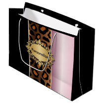 Pink, Black and Jaguar Animal Print Large Gift Bag