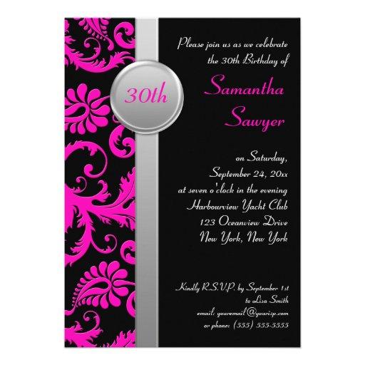 Pink Black And Silver 30th Birthday Invitation 5 X 7