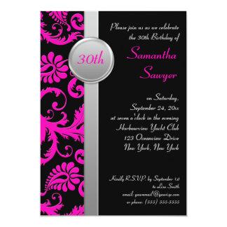 "Pink, Black, and Silver 30th Birthday Invitation 5"" X 7"" Invitation Card"