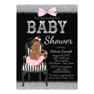 Pink Black and Silver Ethnic Girl Baby Shower Card