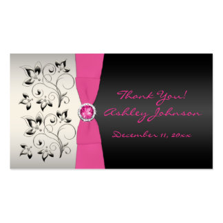 Pink, Black, and Silver Favor Tag Business Card