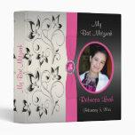 Pink, Black, and Silver Floral Bat Mitzvah Binder