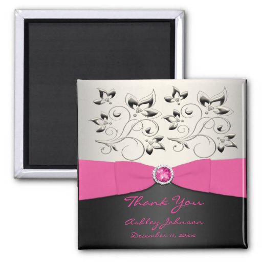 Pink, Black, and Silver Party Favor Magnet