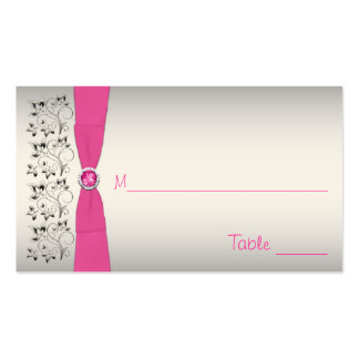 Pink, Black, and Silver Placecards Business Cards