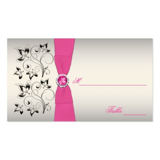 Pink, Black, and Silver Placecards (Script Font) Business Card Templates