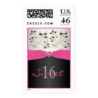 Pink, Black, and Silver Sweet 16 Postage stamp