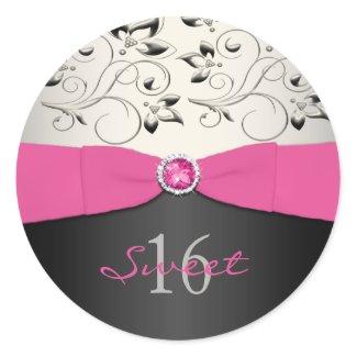 Pink, Black, and Silver Sweet 16 Sticker sticker