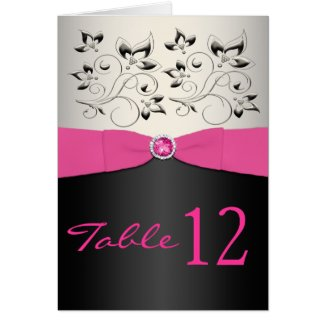 Pink, Black, and Silver Table Number Card card