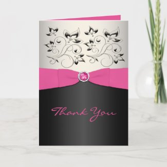 Pink, Black, and Silver Thank You Card card