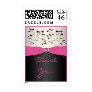 Pink, Black, and Silver Thank You Postage stamp
