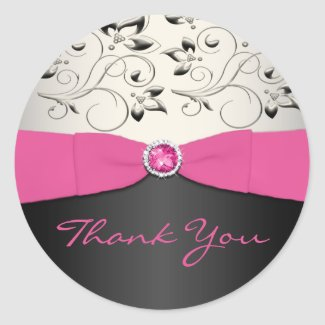 Pink, Black, and Silver Thank You Sticker sticker