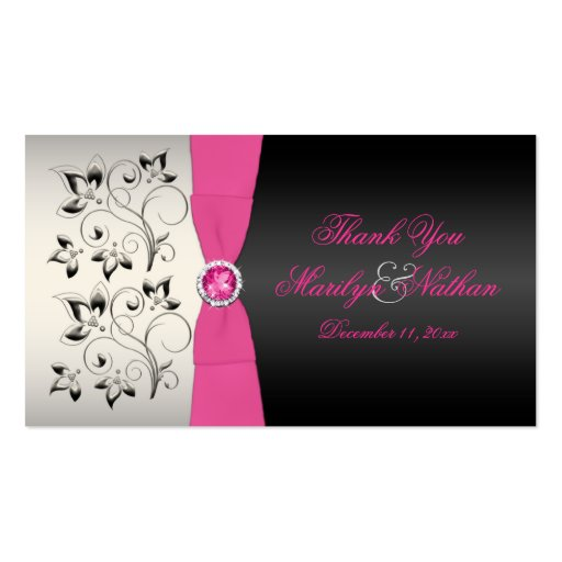 Pink, Black, and Silver Wedding Favor Tag Business Card