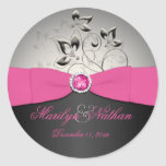 Pink, Black, and Silver Wedding Sticker