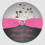 Pink, Black, and Silver Wedding Thank You Sticker