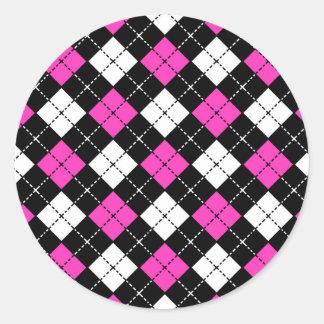 Pink Black and White Argyle Pattern Classic Round Sticker