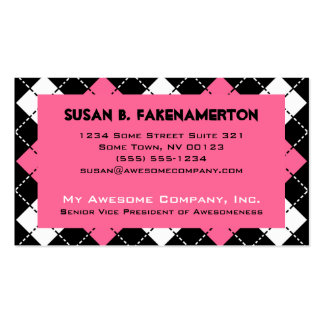 Pink Black and White Argyle Print Business Card Templates